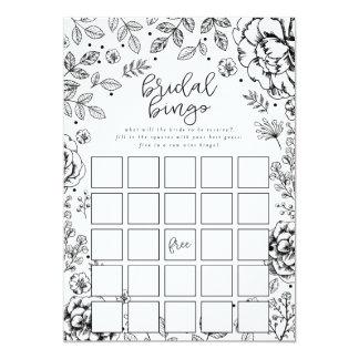 Tarjeta de juego nupcial floral del bingo de la invitación 12,7 x 17,8 cm