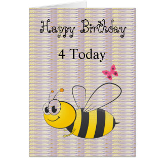 Tarjeta de la abeja de la lila del negro del feliz