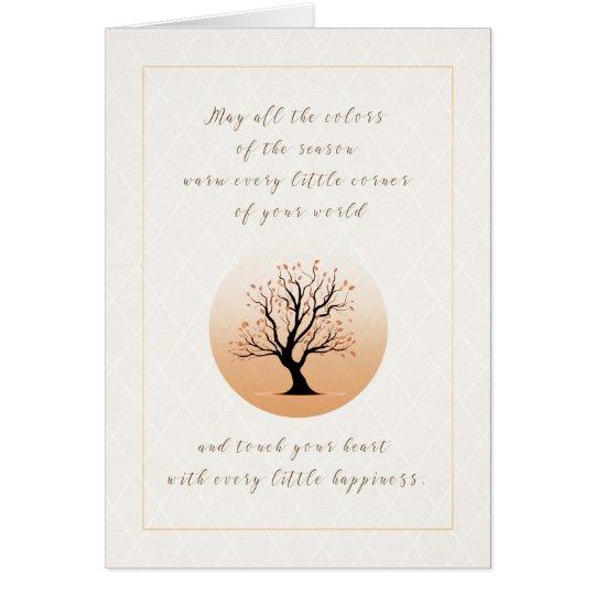 Tarjeta de la acción de gracias del árbol del