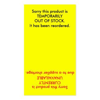 Tarjeta de la acción del inventario del producto tarjetas de visita