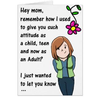 Tarjeta de la actitud del día de madres