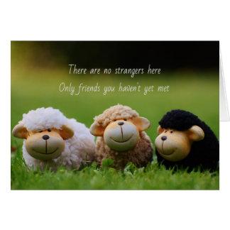 Tarjeta de la amistad con las pequeñas ovejas