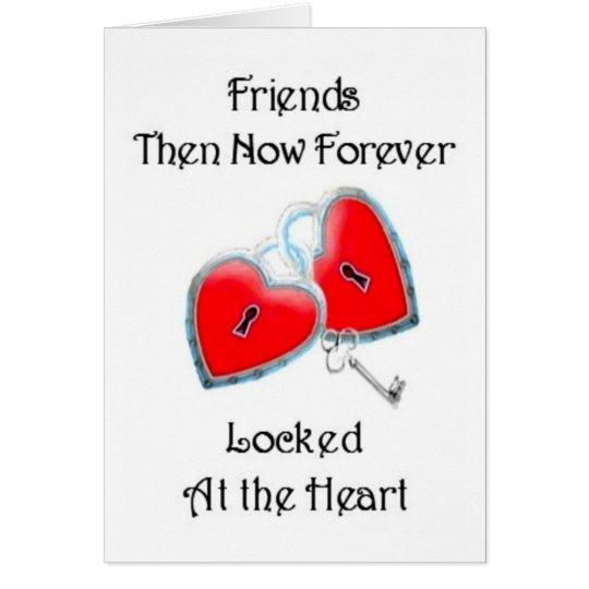 Tarjeta de la amistad de los amigos entonces ahora