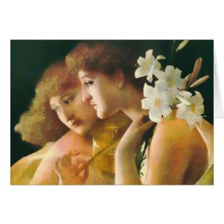Tarjeta de la bella arte de dos ángeles
