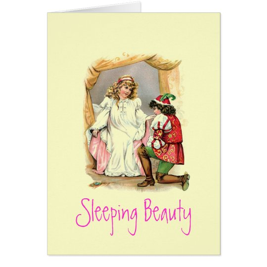 Tarjeta de la bella durmiente del vintage