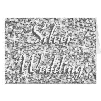 Tarjeta de la bodas de plata de la plata del G