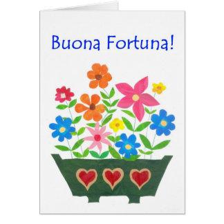 Tarjeta de la buena suerte, saludo italiano - flow
