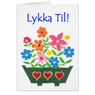 Tarjeta de la buena suerte, saludo noruego -