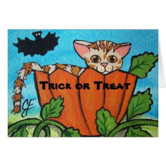 Tarjeta de la calabaza de Halloween del truco o