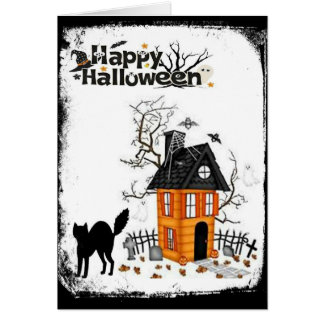 Tarjeta de la casa encantada del gato negro del