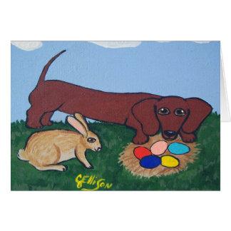 Tarjeta de la caza del huevo de Pascua del