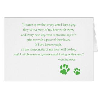 Tarjeta de la cita del corazón del perro