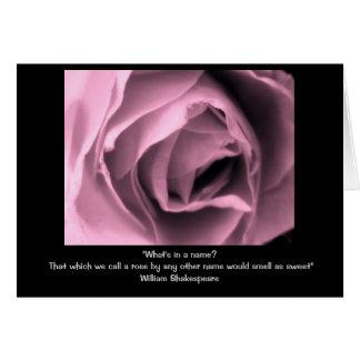 Tarjeta de la cita del rosa de Shakespeare