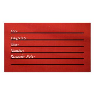 Tarjeta de la cita (roja) tarjetas de visita