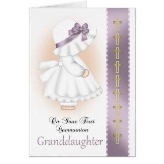 Tarjeta de la comunión santa de la nieta con la