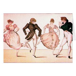 Tarjeta de la danza de la regencia del vintage y