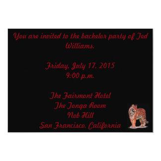 Tarjeta de la despedida de soltero del tigre invitación 12,7 x 17,8 cm