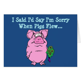 Tarjeta de la disculpa con el cerdo del vuelo