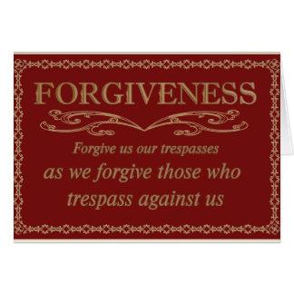 Tarjeta de la disculpa del perdón