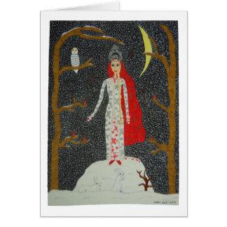 Tarjeta de la doncella de la nieve (versión roja)