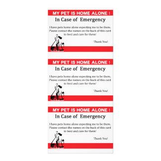 Tarjeta de la emergencia del mascota