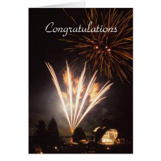 Tarjeta de la enhorabuena de los fuegos