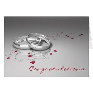 Tarjeta de la enhorabuena del boda