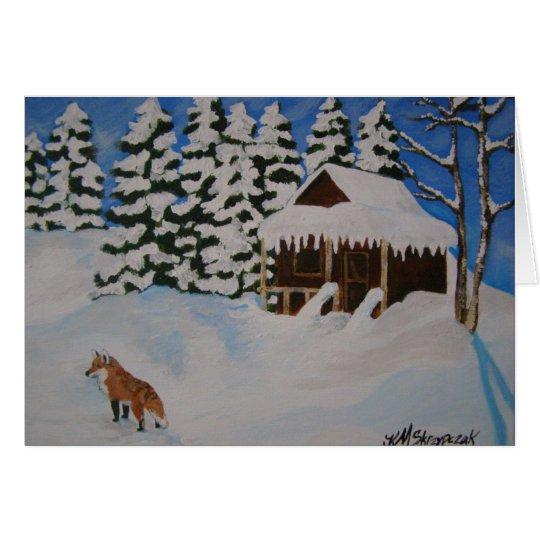 Tarjeta de la escena del invierno del navidad