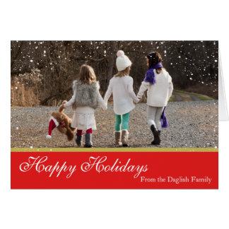Tarjeta de la familia del navidad Nevado