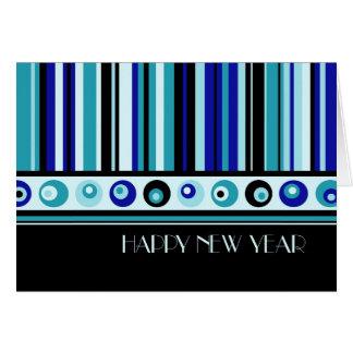 Tarjeta de la Feliz Año Nuevo de las rayas azules