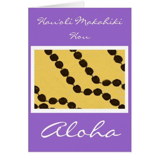 Tarjeta de la Feliz Año Nuevo del Hawaiano-Estilo