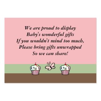 Tarjeta de la fiesta de bienvenida al bebé tarjetas de visita grandes