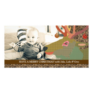 Tarjeta de la foto de Brown del navidad del reno Tarjetas Fotograficas Personalizadas