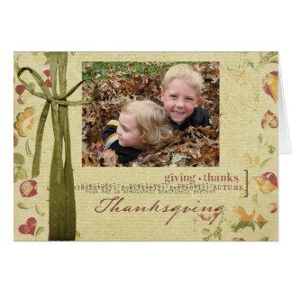 Tarjeta de la foto de la acción de gracias
