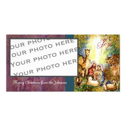 Tarjeta de la foto de la escena del pesebre tarjetas fotograficas