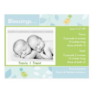 Tarjeta de la foto de la invitación del nacimiento postal
