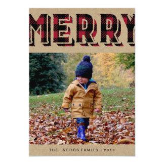 Tarjeta de la foto de las Felices Navidad de la Invitación 12,7 X 17,8 Cm