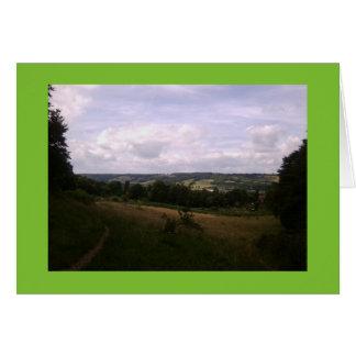 Tarjeta de la foto de los jardines/de las colinas