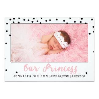 Tarjeta de la foto de princesa Girl Baby Birth Invitación 12,7 X 17,8 Cm