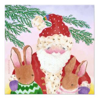 Tarjeta de la foto de Santa y de los conejos Invitación 13,3 Cm X 13,3cm