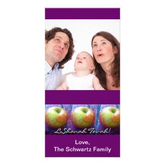 Tarjeta de la foto de tres Apple Rosh Hashanah