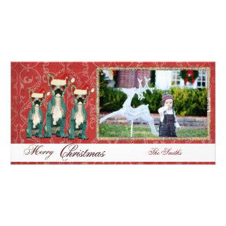 Tarjeta de la foto de tres navidad de los dogos fr tarjeta fotografica personalizada