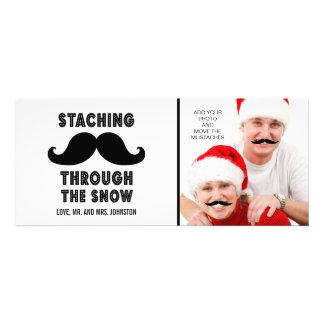 Tarjeta de la foto del bigote de las Felices Navid Invitación Personalizada