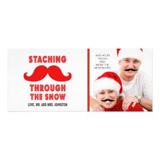 Tarjeta de la foto del bigote de las Felices Navid Invitacion Personalizada