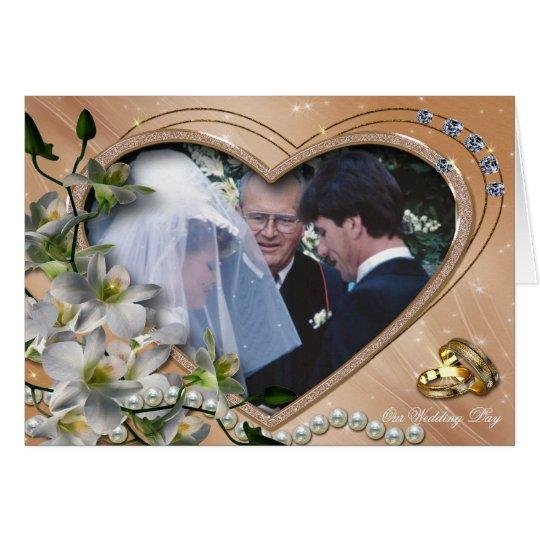 Tarjeta de la foto del boda