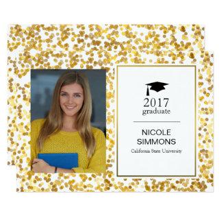 Tarjeta de la foto del graduado del confeti del invitación 12,7 x 17,8 cm