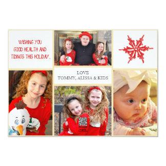 Tarjeta de la foto del navidad - 4 fotos frente y