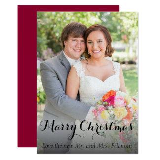 Tarjeta de la foto del navidad apenas casada
