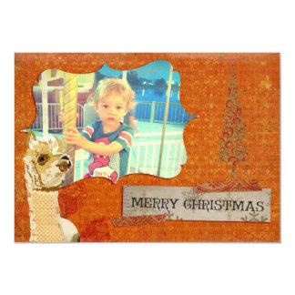 Tarjeta de la foto del navidad de la alpaca del invitación 12,7 x 17,8 cm
