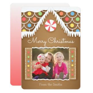 Tarjeta de la foto del navidad de la casa de pan invitación 12,7 x 17,8 cm